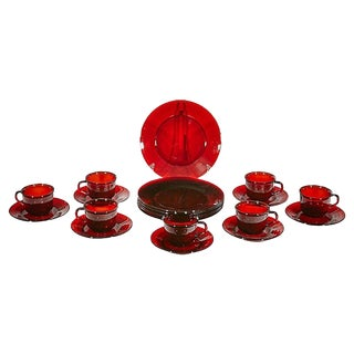 1960s Red French Glass Dinnerware, 20 Pcs For Sale