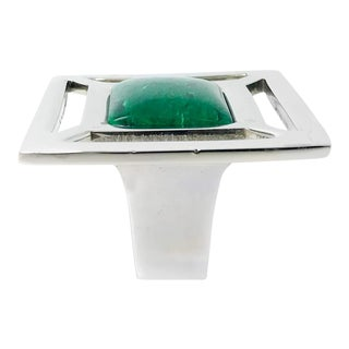 Addison Weeks Evans Knob, Nickel & Malachite For Sale