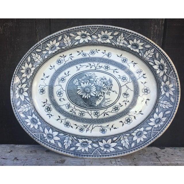 Ceramic 1883 Palmyra Blue Transferware Platter For Sale - Image 7 of 7