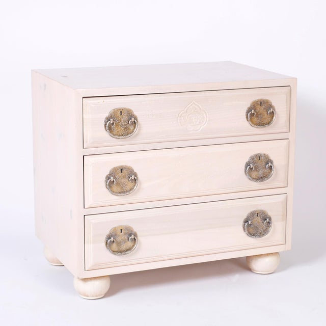 Chinoiserie Midcentury Pickled Pine Chests or Nightstands - A Pair For Sale - Image 3 of 10