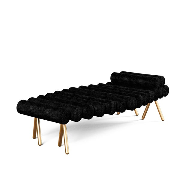 21st Century Custom Handmade Contemporary Daybed By Troy Smith. Solid Brass legs with extra comfy padded bolsters that...