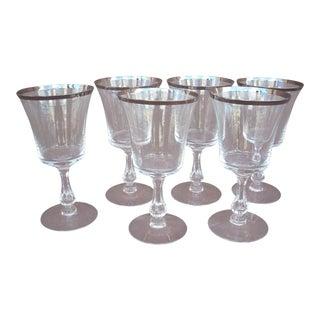 Fostoria Platinum Band Crystal Dessert Wine Glasses -Set of 6 For Sale