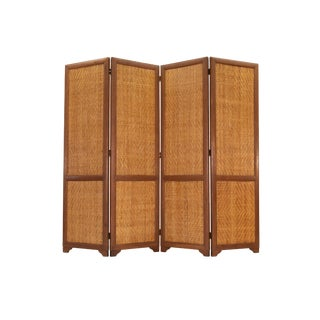 Vintage Scandinavian Teak and Rattan Folding Screen or Room Divider For Sale