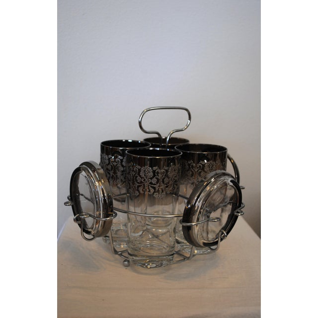 Mid-Century Modern 1940s Vintage Kimko Silver High Ball Glasses & Coasters with Caddy - Set of 4 For Sale - Image 3 of 5