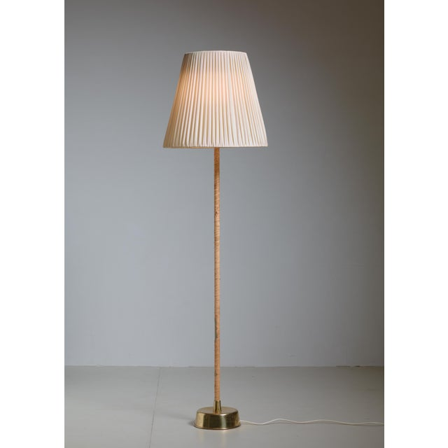 1950s Lisa Johansson-Pape Floor Lamp with Leather Stem and Pleated Fabric Shade, 1950 For Sale - Image 5 of 5