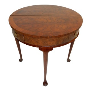 Baker Furniture Co. Burl Inlaid & Banded Mahogany Queen Anne Table
