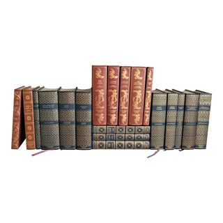 Vintage Rust and Teal Books - Set of 19 For Sale