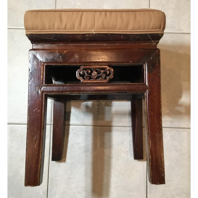 Antique Upholstered Chinese Foot Stool For Sale - Image 4 of 13