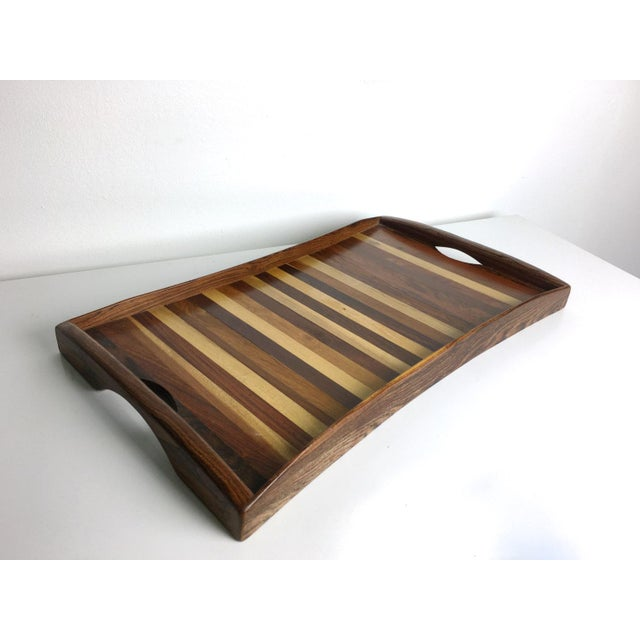 1960s Vintage Don Shoemaker Tessellated Mixed Exotic Wood Serving Tray For Sale In Detroit - Image 6 of 6