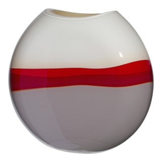 Large Eclissi Vase in Red, Ivory, and Grey by Carlo Moretti For Sale