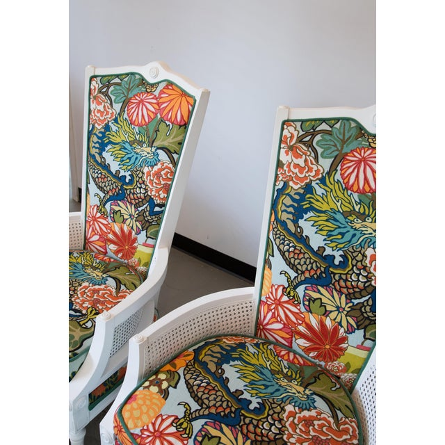 Vintage Caned Chairs in Schumacher Chiang Mai Dragon For Sale In Raleigh - Image 6 of 9