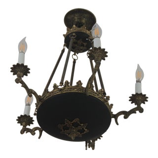Antique Empire Style 5 Light Black and Bronze/Brass Chandelier For Sale