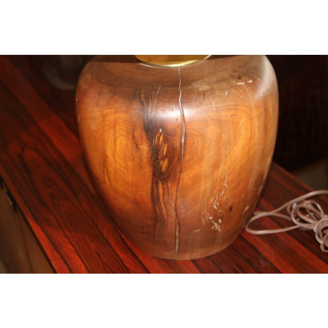 Mid-Century Modern Great Craftsman Turned Wood Lamp For Sale - Image 3 of 7