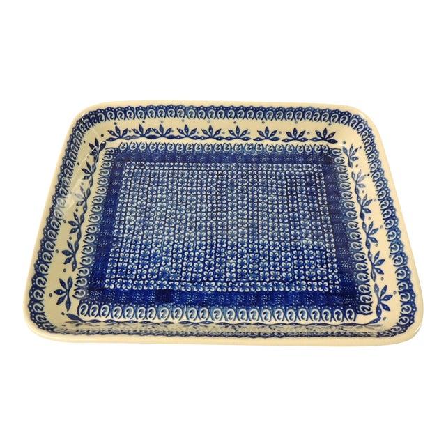 Vintage Blue & White Ironstone Serving Platter - Image 1 of 4