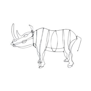 Vintage Silver Wire Rhino / Rhinoceros Sculpture Figurine For Sale