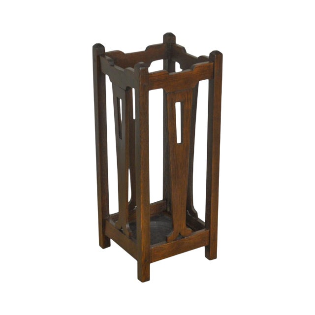 Mission Oak Arts & Crafts Antique Umbrella Cane Stand For Sale