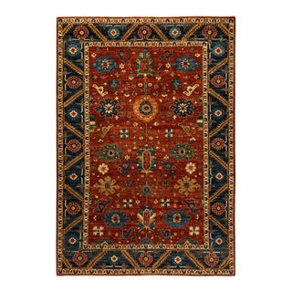 One-Of-A-Kind Oriental Serapi Hand-Knotted Area Rug, Crimson, 6' 3 X 8' 9 For Sale