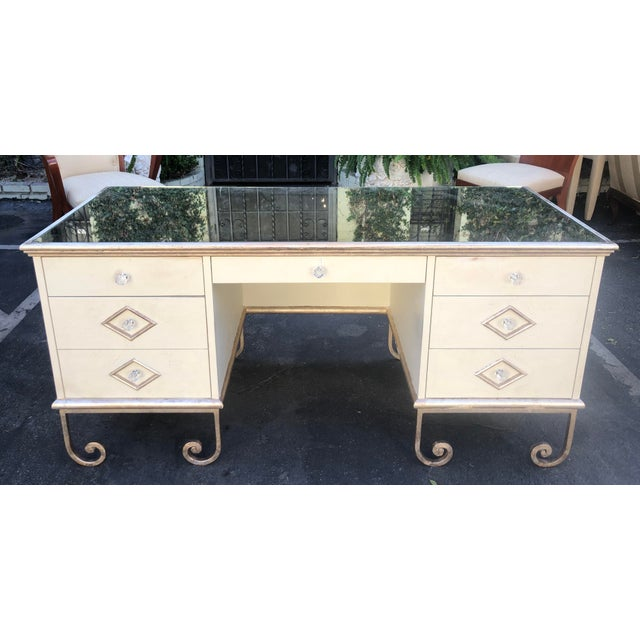 1980s Vintage Art Deco Mirror Top Vanity Desk For Sale - Image 5 of 6