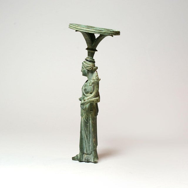 Roman Bronze Lamp Stand Depicting the Goddess Fortuna For Sale - Image 4 of 6
