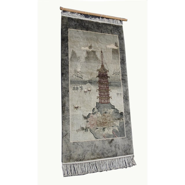 Chinese Vintage Chinese Wool Wall Hanging Rug Tapestry 'Temple W Lake and Boats' For Sale - Image 3 of 13