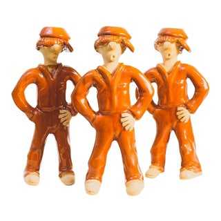 Clay Mechanic Figure Candlesticks - Set of 3 For Sale