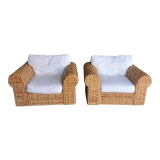 1980s Ralph Lauren Rattan Lounge Chairs - a Pair For Sale