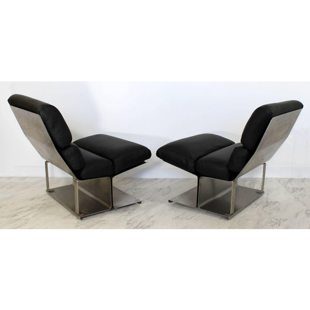 Mid-Century Modern 1970s Mid-Century Modern Paul Geoffroy Uginox Steel Leather Lounge Chairs - a Pair For Sale - Image 3 of 6