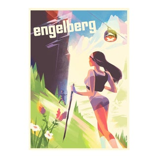 Danish Modern Poster, Engelberg Summer Hiking For Sale