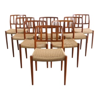 Niels Moller for J.L. Møllers Møbelfabrik Model #83 Teak Dining Chairs with Danish Cord - A Set of 8, Denmark For Sale