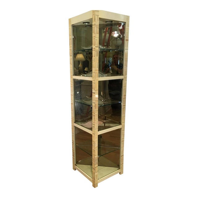 1980s Modern Baker Furniture Company Triangle Vitrine Showcase by Allesandro 1 of 2 For Sale - Image 5 of 5
