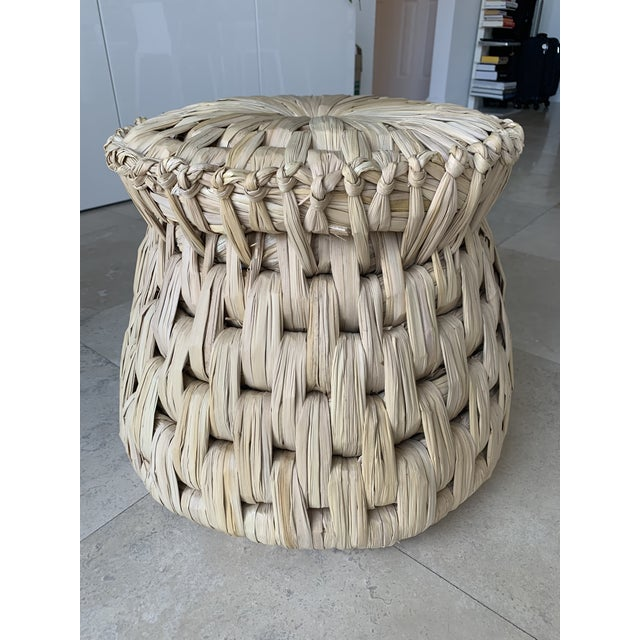 2010s 21st Century Vintage Handcrafted Palm Woven Tule Stoo For Sale - Image 5 of 5