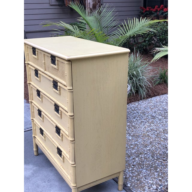 Stanley Yellow Faux Bamboo Dresser For Sale - Image 9 of 13