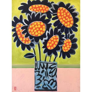 Blue Sunflowers Contemporary Still Life Painting For Sale