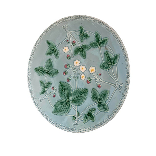 Farmhouse Aqua Majolica Platter, Germany For Sale - Image 3 of 9