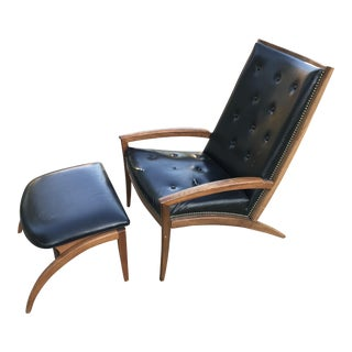 Barney Flagg for Drexel Mid-Century Modern Parallel Chair and Ottoman For Sale