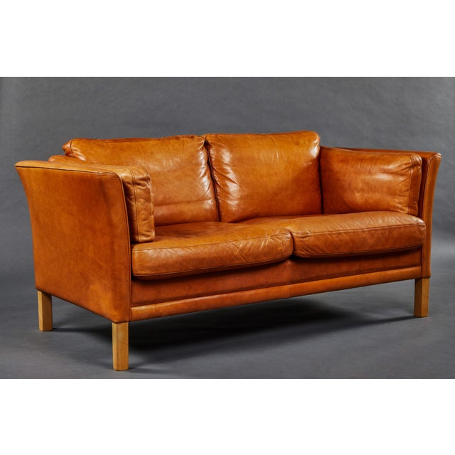 Mid-Century Modern A Rich Leather Scandinavian Settee For Sale - Image 3 of 7