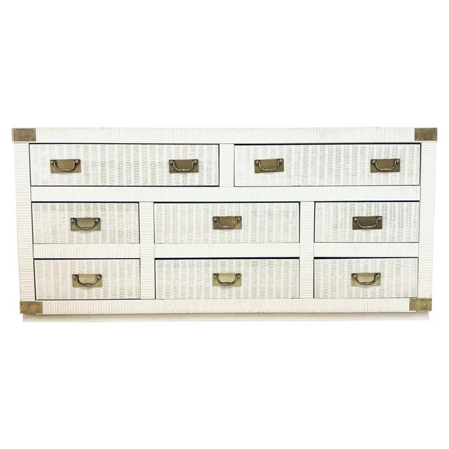Wicker Midcentury Hollywood Regency Palm Beach White Wicker & Brass 8-Drawer Campaign Dresser For Sale - Image 7 of 7