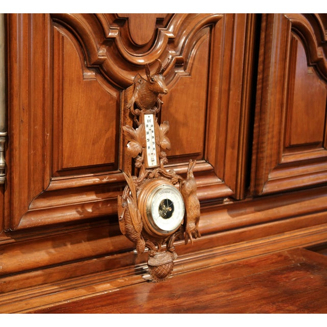 Gold 19th Century French Carved Walnut Black Forest Barometer With Deer and Guns For Sale - Image 8 of 10