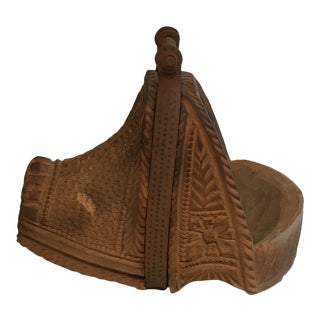 Antique Hand Carved Ornate Wood & Iron Stirrup For Sale