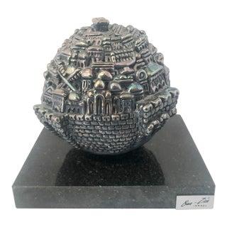 Ben Zion Sterling Silver Spherical Sculpture of Jerusalem Sculpture For Sale