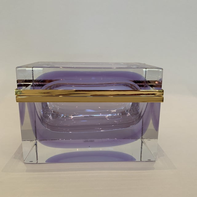 21st Century Murano Lavender Giant Crystal Jewel Box by Mandruzzato For Sale - Image 10 of 10