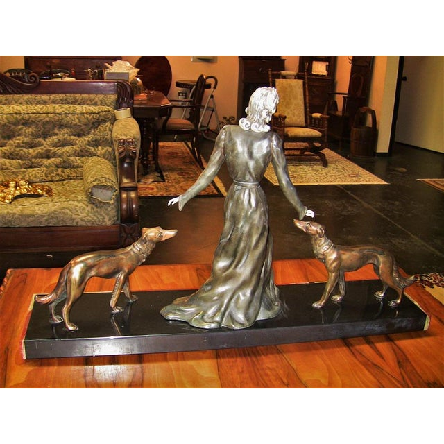 Metal Large Art Deco Sculpture of Bronze Lady With Dogs on Marble Base - Impressive and Important For Sale - Image 7 of 11