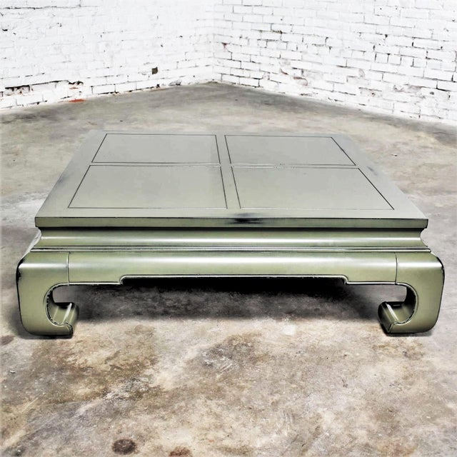 Baker Furniture Company Monumental Square Asian Ming Style Lacquered Coffee Table in Sage Green For Sale - Image 4 of 13