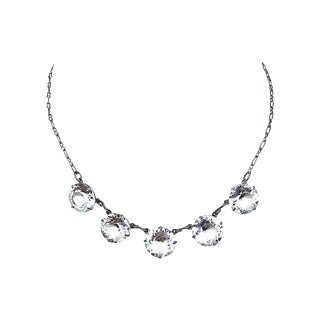 1920s Faceted Crystal Necklace For Sale