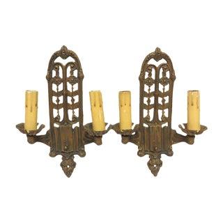 Vintage Bronze Double Candlestick Art Deco Sconces - a Pair For Sale