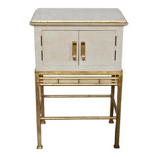 Vintage Hollywood Regency Gold Gilt Faux Bamboo Side Table For Sale
