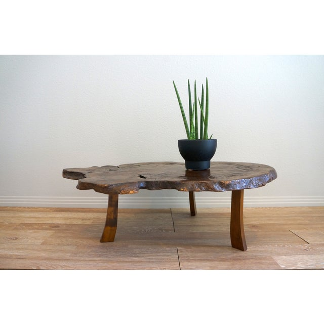 Antique Japanese Exotic Wood Slice Live Edge Table - Image 3 of 8