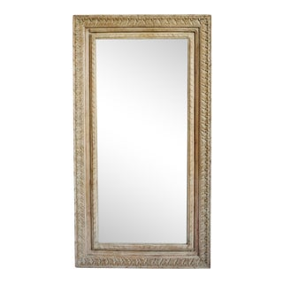 Carved India Wood Frame Mirror For Sale