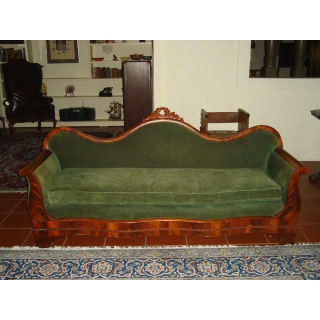 Green Velvet Serpentine Victorian Sofa - Image 2 of 6