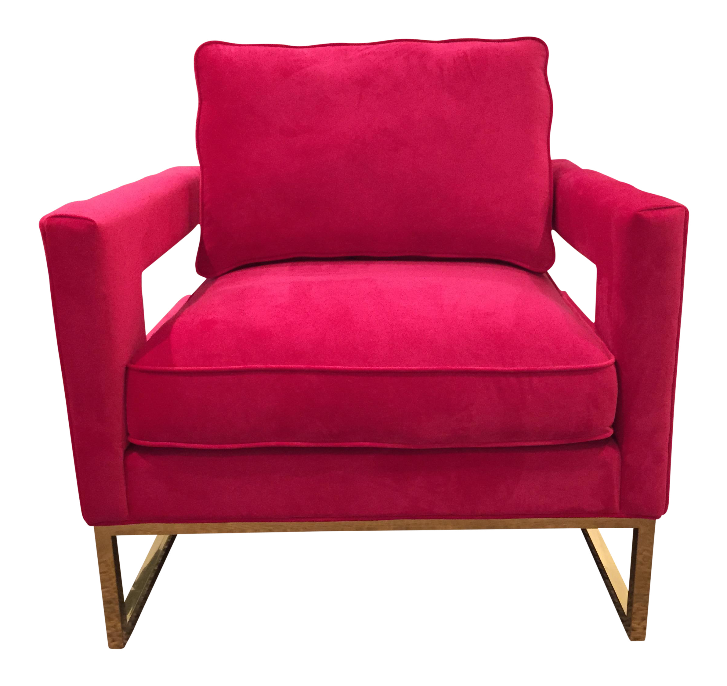 Beau New Hot Pink Velvet Chair For Sale